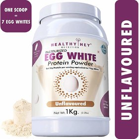 HealthyHey 100 Egg White Protein - Instant Mix - 80 Protein - Non GMO  Lactose Free - 1 Kg (Unflavoured)