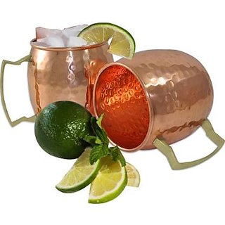 Moscow Mule Copper - Solid Hammered Copper for Moscow Mule Cocktail - 16oz - 500 ml Copper Mug  (500 ml  Pack of
