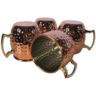Mule Copper Copper Mug  (500 ml) Pack Of 4