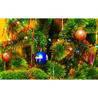 red blue ornaments with tree Sticker Poster Christmas poster size:12x8 inch  Sticker Paper Poster, 12x18 Inch