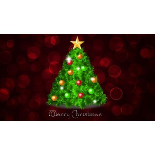 merry christmas with greet tree Sticker Poster|Christmas poster|size:12x8 inch |Sticker Paper Poster, 12x18 Inch