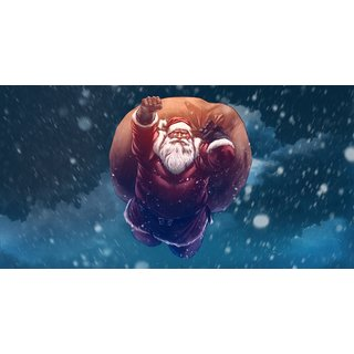 santa claus Sticker Poster|Christmas poster|size:12x8 inch |Sticker Paper Poster, 12x18 Inch
