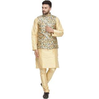 BENSTOKE mens Gold Printed kurta pajama waistcoat set