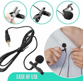 RSN 3.5 mm Clip Collar Mike for Voice Recording, Mobile, PC, Laptop, Android Smartphones, DSLR Camera (Black)BY