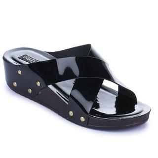 Sapatos Women Casualwear Black Color Slip-On Wedges