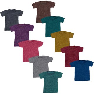Eazy Trendz Baby Boys  Baby Girls Half Sleeve Plain Solid Dark Colour Tshirts Tops with Breathable Cotton Blend Fabricating (Pack of10)