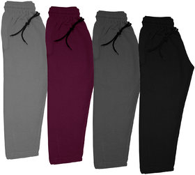 IndiWeaves Boys and Girls Solid Fleece Warm Lowers Track Pants for Winters (Pack of 4)
