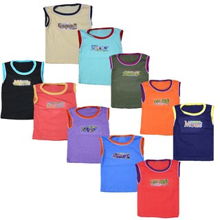 Eazy Trendz Baby Boys  Baby Girls Unisex Sleeveless Colourful Cotton Printed Sports Type Tshirts Wholesale Price (Pack of 10)