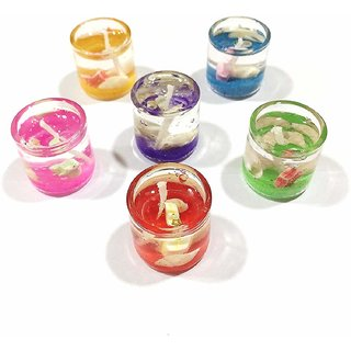 Kartik Set of 6pcs Shell Ocean Jelly Transparent Glass Tealight Candles (Small Size Without Fragrance)