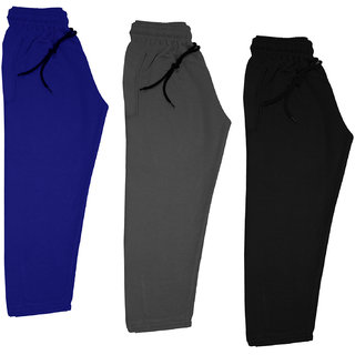 IndiWeaves Boys and Girls Solid Fleece Warm Lowers Track Pants for Winters (Pack of 3)