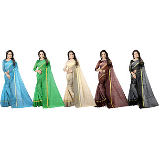 Florence Multicolor Cotton Silk Stripes Pack of 5 Saree