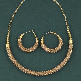 SILVERSHINE Exclusive Goldplated Diamond Studded Designer Hasli Necklace set For women Jewellery