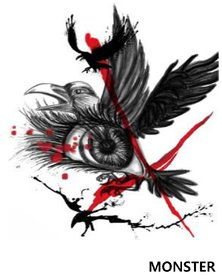 Monster Eagle with eye Temporary tattoo