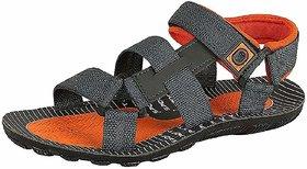 Liboni Men's Grey Orange Synthetic Leather Sandals