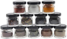 Glazzure Cute 30 ml Airtight Glass Jar Containers for Honey, Spices  other Kitchen Items with Rust Proof Black Caps  Set of 12 pcs