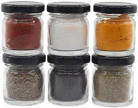 Glazzure Cute 50 ml Airtight Glass Jar Containers for Honey, Spices  other Kitchen Items with Rust Proof Black Caps  Set of 6 pcs