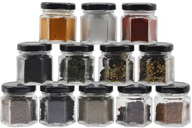 Glazzure Cute 50 ml Hexagon Shaped Airtight Glass Jar Containers for Honey, Spices  other Kitchen Items with Rust Proof Black Caps  Set of 12 pcs
