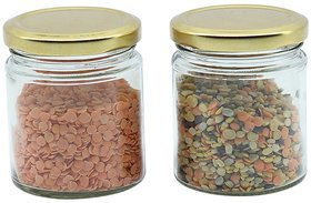 Glazzure Cute 350 ml Airtight Glass Jar Containers for Dry Fruits, Spices  other Kitchen Items with Rust Proof Golden Color Caps  Set of 2 pcs