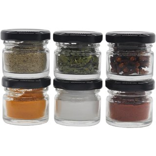 Glazzure Cute 30 ml Airtight Glass Jar Containers for Honey, Spices  other Kitchen Items with Rust Proof Black Caps  Set of 6 pcs