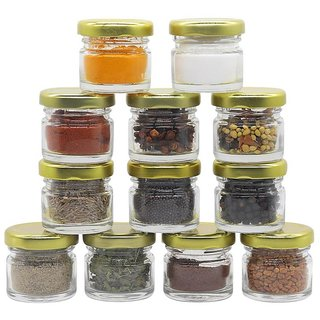Glazzure Cute 50 ml Airtight Glass Jar Containers for Honey, Spices  other Kitchen Items with Rust Proof Golden Color Caps  Set of 12 pcs