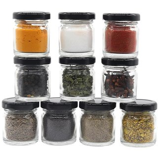 Glazzure Cute 50 ml Airtight Glass Jar Containers for Honey, Spices  other Kitchen Items with Rust Proof Black Caps  Set of 12 pcs