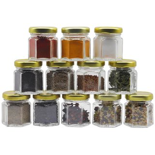 Glazzure Cute 50 ml Hexagon Shaped Airtight Glass Jar Containers for Honey, Spices  other Kitchen Items with Rust Proof Golden Color Caps  Set of 12 pcs