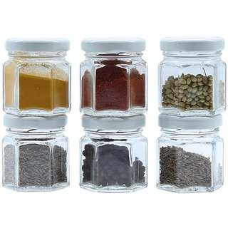 Glazzure Cute 50 ml Hexagon Shaped Airtight Glass Jar Containers for Honey, Spices  other Kitchen Items with Rust Proof White Caps  Set of 6 pcs
