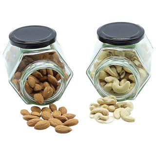Glazzure Strong  Durable 200 ml Hexagon Glass Jar Containers for Honey, Dry Fruits, Grains, Pickles, Jams  other Kitchen Items with Rust Proof  Airtight caps  Set of 2 pcs
