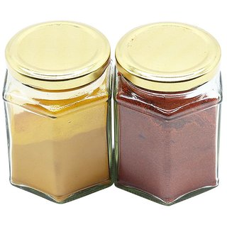 Glazzure Strong  Durable 450 ml Hexagon Glass Jar Containers for Honey, Dry Fruits, Grains, Pickles, Jams  other Kitchen Items with Rust Proof  Airtight caps  Set of 2 pcs
