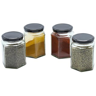 Glazzure Strong  Durable 450 ml Hexagon Glass Jar Containers for Honey, Dry Fruits, Grains, Pickles, Jams  other Kitchen Items with Rust Proof  Airtight caps  Set of 4 pcs