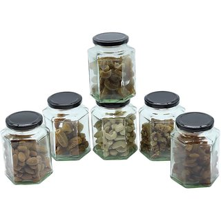 Glazzure Strong  Durable 450 ml Hexagon Glass Jar Containers for Honey, Dry Fruits, Grains, Pickles, Jams  other Kitchen Items with Rust Proof  Airtight caps  Set of 6 pcs