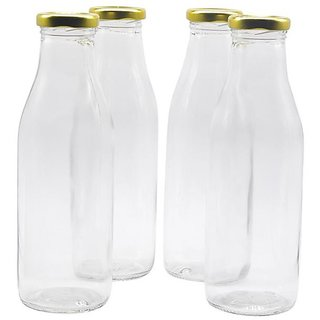 Glazzure Strong  Durable 500 ml Glass Bottles For Milk, Juice  Milkshakes with Rust Proof  Airtight Golden Color Caps  Set of 4 pcs