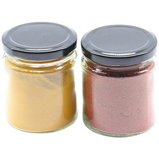 Glazzure Cute 350 ml Airtight Glass Jar Containers for Dry Fruits, Spices  other Kitchen Items with Rust Proof Black Caps  Set of 2 pcs