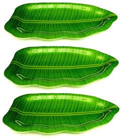 aveon banana leaf melamine plates 16x10 set of 3