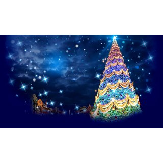 christmas tree with shiny dark night Sticker Poster|Christmas poster|size:12x8 inch |Sticker Paper Poster, 12x18 Inch