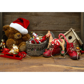 teddy bear with santa hat Sticker Poster|Christmas poster|size:12x8 inch |Sticker Paper Poster, 12x18 Inch