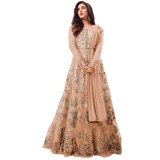 Saadhvi Peach Net Embroidered Anarkali Gown