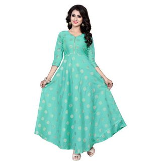 Saadhvi Turquoise Chanderi Silk Solid Anarkali Gown
