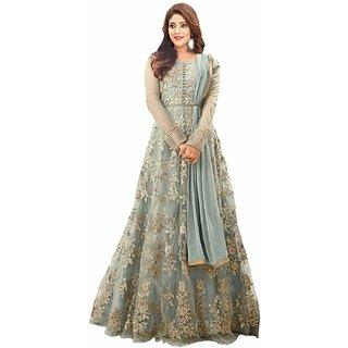 Vkaran Grey Net Embroidered Anarkali Gown