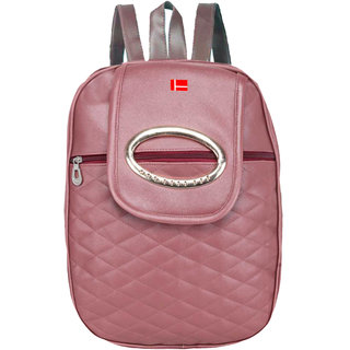 PU BACKPACK FOR SCHOOL AND COLLEGE GIRL 10 L Backpack  (Tan)