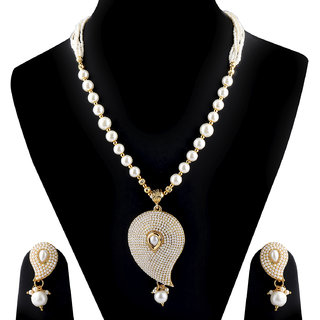 SILVERSHINE Exclusive Designer White Kundan Stone Studded Pearl Mala Set for Women Jewellery