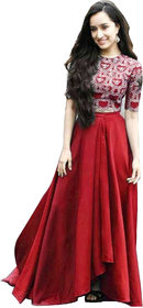 Saadhvi Red Taffeta Silk Embroidered Semi Stitched Lehenga Choli