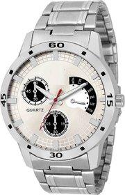 Ismart White Round Dial Silver Stainless Steel Strap Analog Quartz Watch For Men