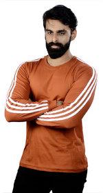 The Royal Swag Men's Cotton Full Sleeve T-Shirt - Rust Sports Trim