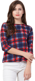 Jollify  Women's Printed 3/4 sleev casual top(BLUE CHECK)