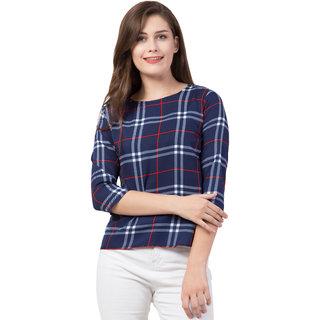 Jollify  Women's Printed 3/4 sleev casual top(CHECK PRINT)