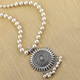 SILVERSHINE silverplated Designer Traditional Long Pearl Drop Sunshine Design Necklace set for women Jewellery set