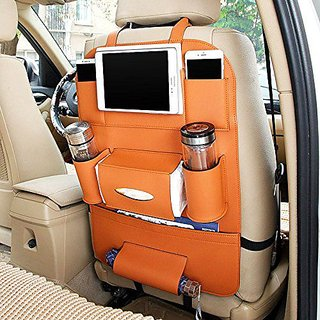 Leatherite Car Seat Organiser/Storage Bag Multi Pockets Car Back Seat for Phone Bottles Organizer Tissue Umbrella Holder