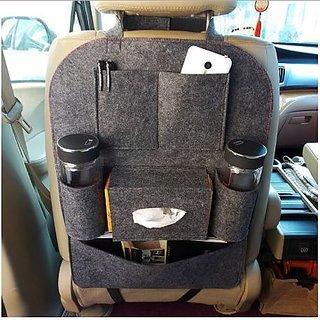 gaze me  Multi Pocket Organizer for Car Seat Multi-use to hold ipad, bottle, tissue, toy etc. - Single Piece - (Grey)