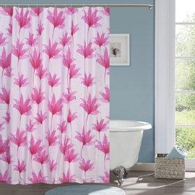 CASA-NEST Basics Shower Curtain with Hooks - 180 x 200 cm, Dark Red